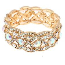 Austrian Crystal Wedding Art Deco Stretch Bracelet Gold AB