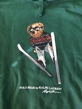 "NWT POLO RALPH LAUREN ""SKI JUMP"" BEAR HOODIE SWEATSHIRT in GREEN NEW RELEASE"