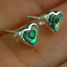 Abalone Heart Stud Silver Earrings, 925 Solid Sterling Silver, e315