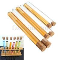 10 piezas de laboratorio tubo de prueba de vidrio con tapón de corcho 3 tamaño 2
