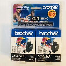Brother LC41BK 2 Pack Black Ink Cartridge LC41BK2PKS Genuine OEM Supplies