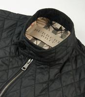Burberry Brit Nova Check Diamond Quilted Bomber Jacket Mens Size L Large Black