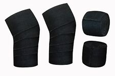 Power Weight Lifting Bandage Squats Support Knee Wraps Black Pair