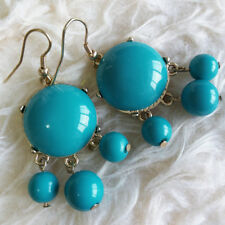 Beads Dangle Drop Fall Hook Earrings Lovely Fashion Womens Big Aqua-Blue Plastic