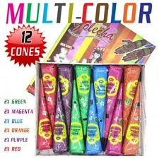 12 X Multi-Color Henna Cones Temporary Body Art Tattoo Mehandi Ink Kit