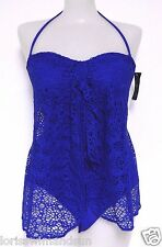 Ralph Lauren Size 8 Solid Blue Crochet Flyaway Bandeau 1-Piece Swimsuit NWT