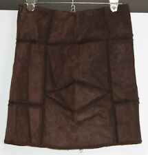 INC Brown Suede Skirt Boho Chic Hippy Womens sz 4 Satin Lined