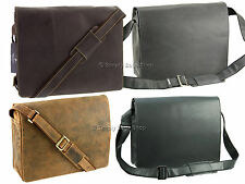 "Visconti Distressed Leather 14"" Laptop Shoulder Messenger Bag - Harvard 18548"