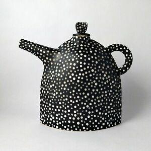 Black and White Stoneware Teapot