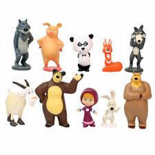 Masha And The Bear 10 Pcs Figurine Cake Topper Kids Toy Birthday Gift US SELLER