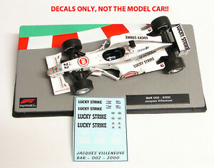 DECALS Jacques Villeneuve 22 BAR 002 2002 LUCKY STRIKE 1:43 Formula 1 Collection