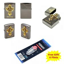 [Zippo] Tribal Cross Emblem Windproof Lighter Made in USA + 6 Flints for free