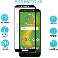 Black Flat Full Cover Tempered Glass Screen Protector For Motorola Moto E5