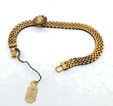"Antique Victorian 12k Yellow Gold GF Mesh Bracelet & Cameo Slide w/ Tag 7"" #Z300"