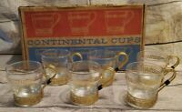 Libbey Glass Continental Cups Set Of 6 Metal Holders Greek Key Design in box