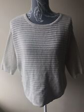 F&f Womens Jumper Size 10 Ivory White 3/4 Sleeved Acrylic Crew Neck Striped