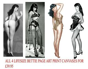 4 X BETTIE PAGE LIFE SIZE IMAGES 50s SEXY NUDE PIN UP EROTIC RISQUE BURLESQUE