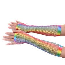 Womens Girls Hollow Out Holes Gloves Rainbow Printed Fingerless Mesh Net Fishnet