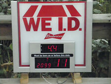 We I.D. Budweiser Beer Light Up Bar Sign With Digital Display Tested Great Cond.