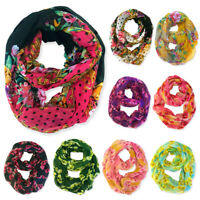 Womens Winter Convertible Infinity Scarf Long Loop Soft Cowl Floral Print Gift