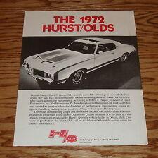 1972 Hurst Oldsmobile Sales Brochure Fact Sheet 72 Olds