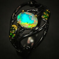 Vintage Antique Jewelry Natural Opal Gemstone Sterling Silver Ring / RVS305