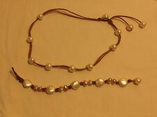 Freshwater Pearls & Suede Necklace & Bracelet Set