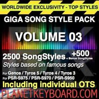 GIGA PACK VOL 03 3000 SONGSTYLES - SONG STYLES POUR YAMAHA PSR-SX900 S975 S970