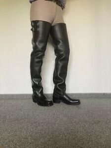 Overknee Leder Crotch Biker Stiefel Gr.46 - Np.750€ Höhe 90cm