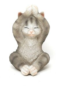 """Yoga Cat Figurine Gray Tabby Seated in The Stretching Pose 5"""" H X 3.5"""" W"""
