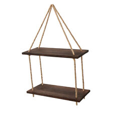 Hanging Wall Shelf Wood Floating Swing Rope Shelves,2-Tier Decor Collectible