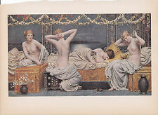 "1939 Vintage ""A SUMMER NIGHT"" by ALBERT MOORE NUDES Color Art Plate Lithograph"