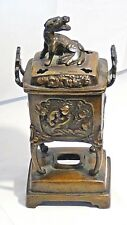 ANTIQUE 19c JAPANESE BRONZE CENSER W/FOO-DOG FINIAL ON LID&RELIEF MEDALLIONS