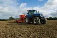 New Holland Tractor Working in Crop Field Photo Art Print Poster 18x12 inch