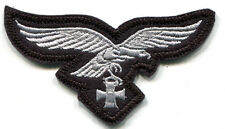 WWII German Luftwaffe Breast Eagle Iron Cross Silver on Black Wool Panzer Colors