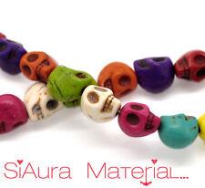 1 Corde Crâne Howlite Perles beads mélange 10 x 10 mm turquoise DIY BRICOLAGE