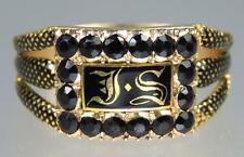 Exquisite Antique Georgian Tailor 22K Gold Enamel Jet Mourning Ring JS 1812