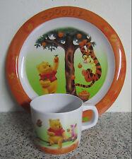 Winnie Pooh Puuh Tigger Kindergeschirr Becher und Teller aus Kunststoff orange