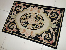 2' x 3' French Market Collection Black Beige Pink Scroll Small Aubusson Rug #123
