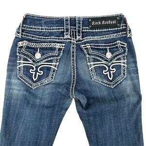 Rock Revival Jeans Bianca Boot Cut Dark Wash Denim Women Size 25 LONG Distressed