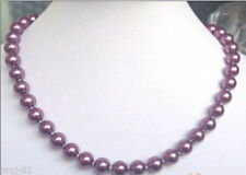 sea shell pearl necklace 18'' Natural Aaa 8mm round purple south