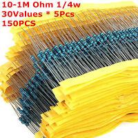 150Pcs 30Values 10-1M Ohm 1/4w Resistance 1% Metal Film Resistor Assortment Kit
