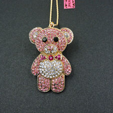 Betsey Johnson Pink Rhinestone Cartoon Bear Pendant Sweater Chain Necklace
