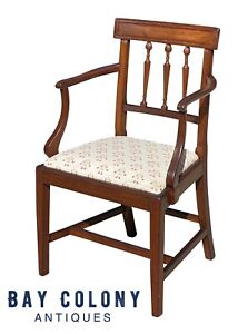 19TH C ANTIQUE FEDERAL PERIOD MAHOGANY ARM CHAIR W/ FOLK ART EMBROIDERED SEAT