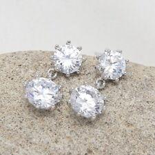 Round Snowflake Cubic Zirconia CZ Wedding Bridal Drop Dangle Stud Earrings Gift