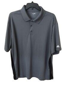 Adidas Men's Size 3XL Short Sleeve Solid Gray Black Athletic Polo Golf Shirt