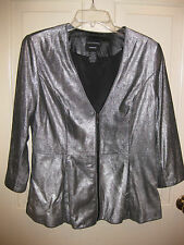 DONCASTER 100% Leather Women's Sz 10 Silver Peplem Princess Zip Jacket 3/4 SL
