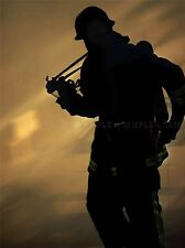 FIRE FIGHTER SILHOUETTE PHOTO ART PRINT POSTER PICTURE BMP105A