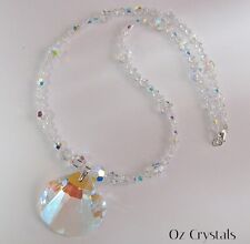 Crystal AB Shell Clam Necklace Made With Swarovski & Sterling Silver