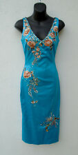 MANDALAY Turquoise Blue Beaded Floral Embroidered Evening Prom Dress Size 2